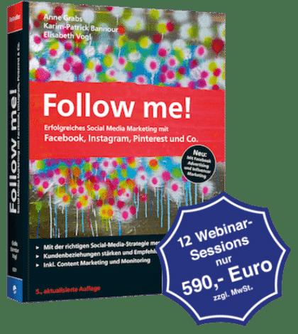 Foto des Buches Follow me! im Halbprofil und einem Logo für das Webinar in dunkelblau.