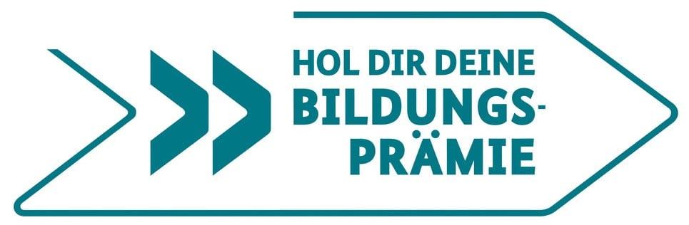 Ein Logo mit der Aufschrift Hol dir deine Bildungsprämie in türkis.