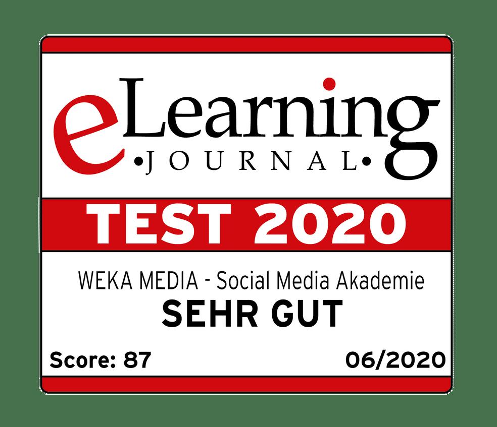 Logo des eLearning Siegel 2020 mit Bewertung sehr gut.